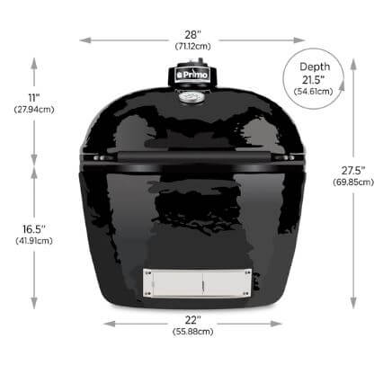 Primo grill Oval XL 400 Size Chart